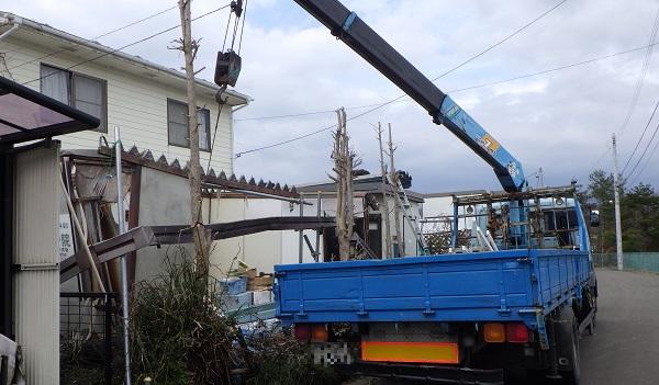 重機を使い、樹木を撤去している様子