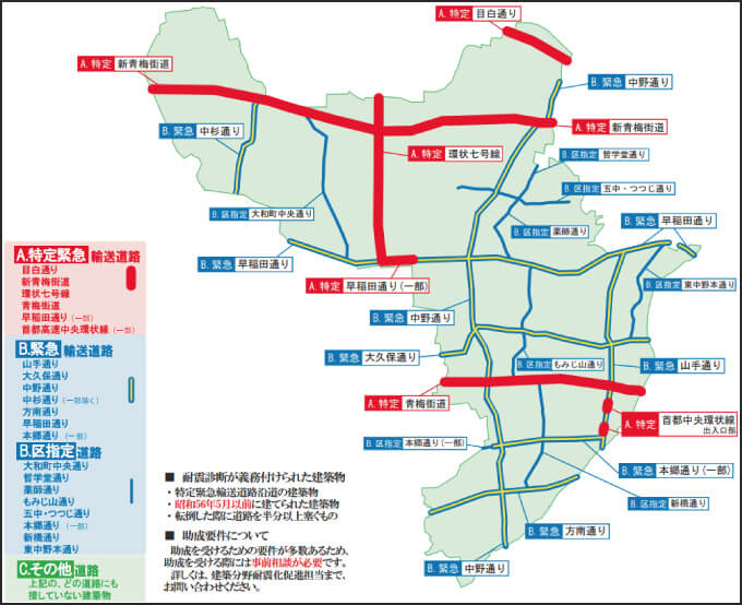 中野区の緊急輸送道路