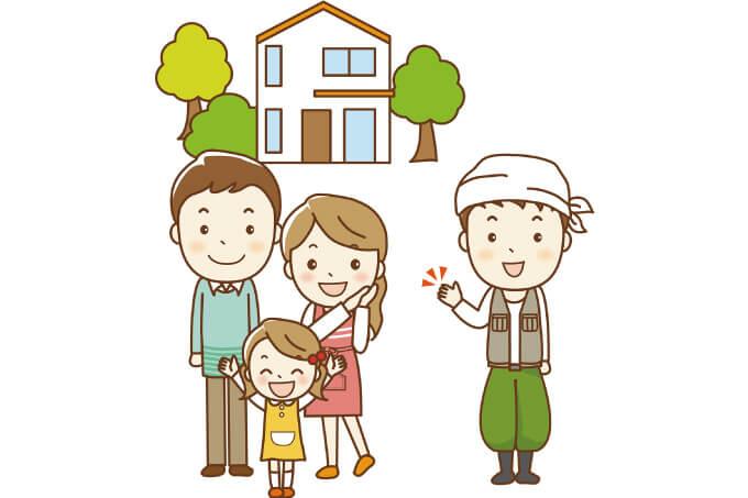 新築した家と親子三人+大工さん