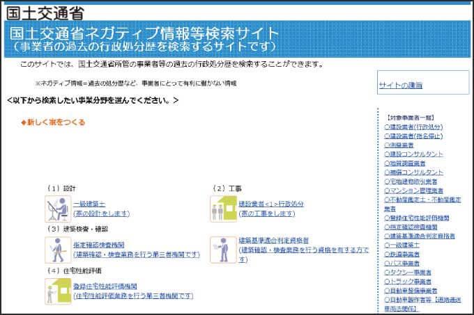 国土交通省ネガティブ情報検索サイトのトップページ