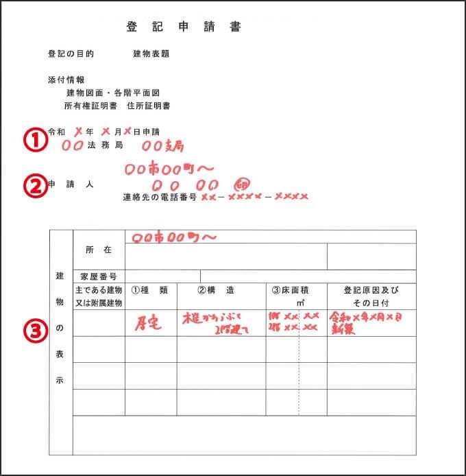 建物表題登記の見本