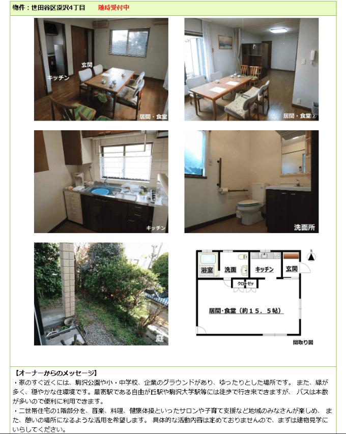 世田谷区の空き家物件情報