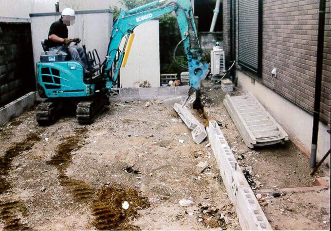 コンクリートブロック解体