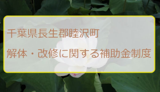 千葉県長生郡睦沢町の解体と改修にともなう家の補助金制度